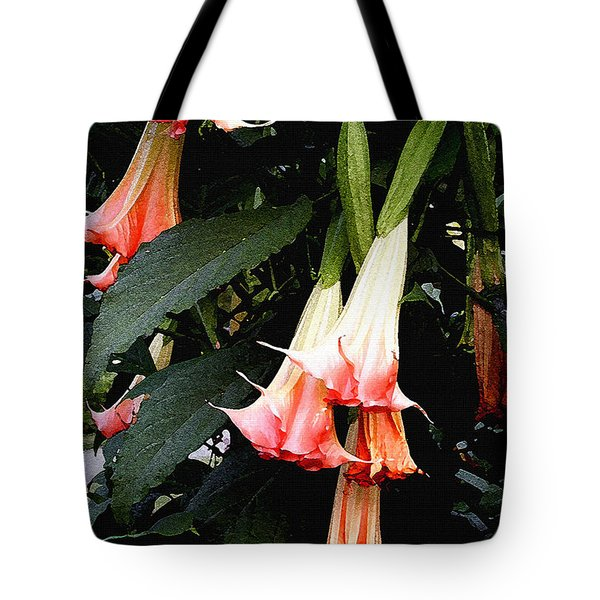 Tote Bag featuring the photograph Pink Angel Trumpets  by James C Thomas