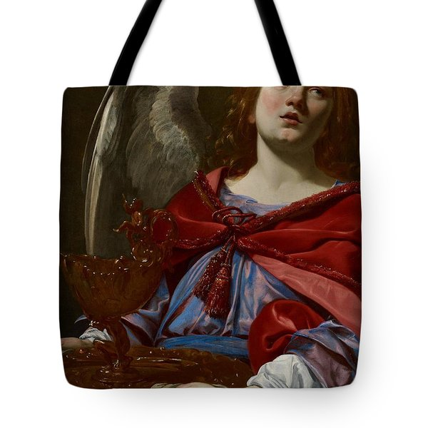 Angel With Attributes Of The Passion Tote Bag by Simon Vouet