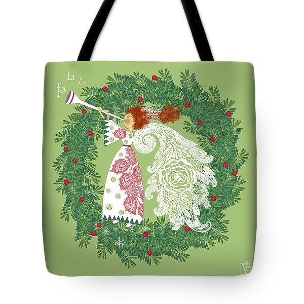 Angel With Christmas Wreath Tote Bag