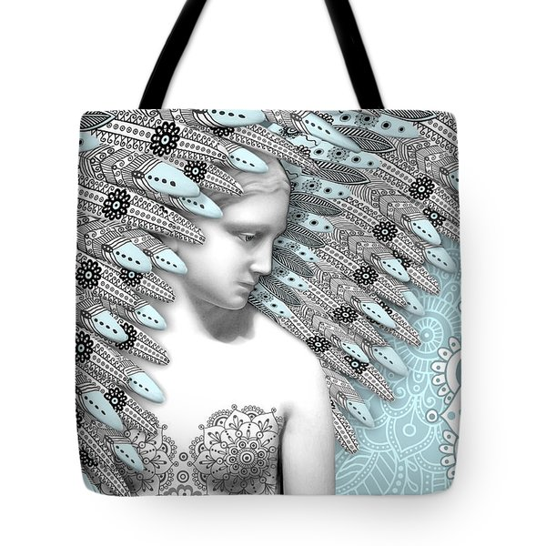 Tote Bag featuring the digital art Angelica Hiberna - Angel Of Winter by Christopher Beikmann