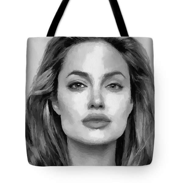 Angelina Jolie Black And White Tote Bag by Georgi Dimitrov