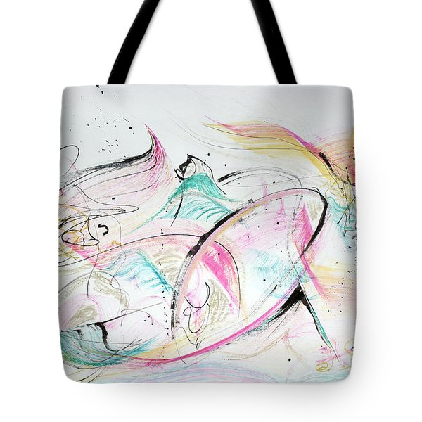 Tote Bag featuring the painting Angels Arriving by Asha Carolyn Young