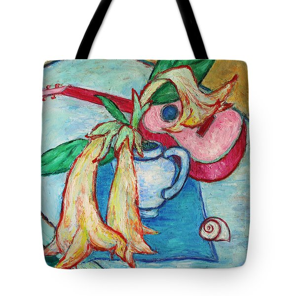 Tote Bag featuring the painting Angel's Trumpet Flowers And A Ukulele by Xueling Zou