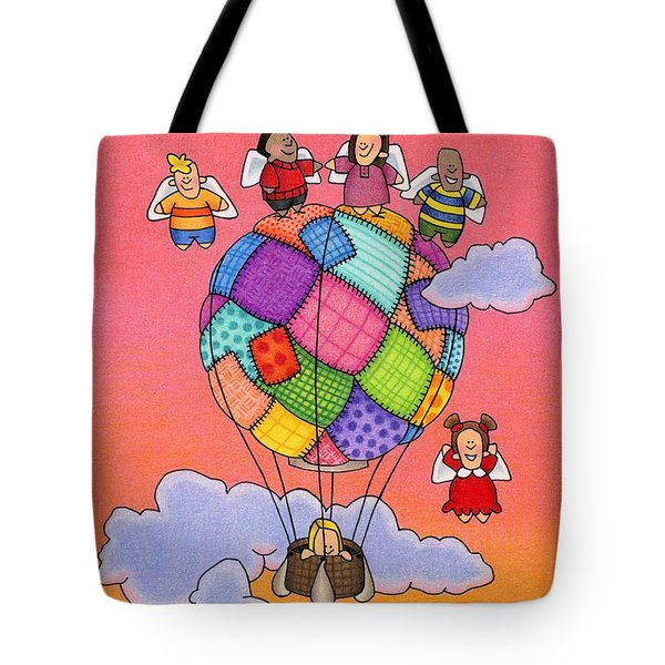 Angels With Hot Air Balloon Tote Bag by Sarah Batalka