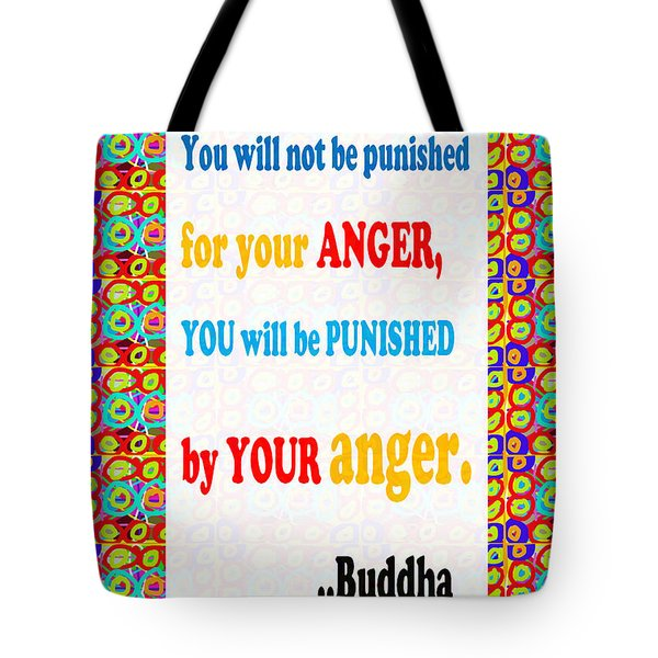 Anger Buddha Wisdom Quote Buddhism   Background Designs  And Color Tones N Color Shades Available Fo Tote Bag