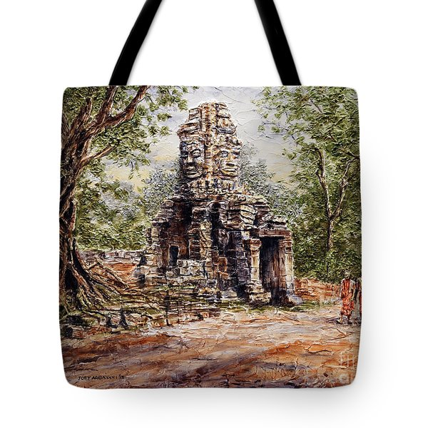 Angkor Temple Gate Tote Bag by Joey Agbayani
