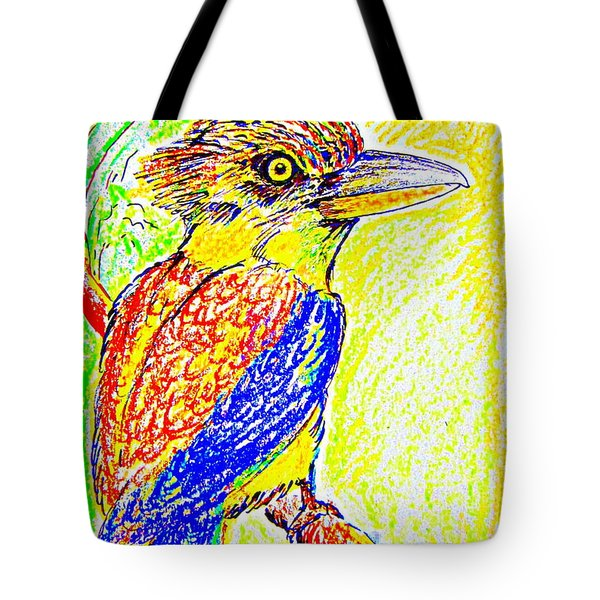 Tote Bag featuring the painting Angry Kookaburra Not Really by Roberto Gagliardi