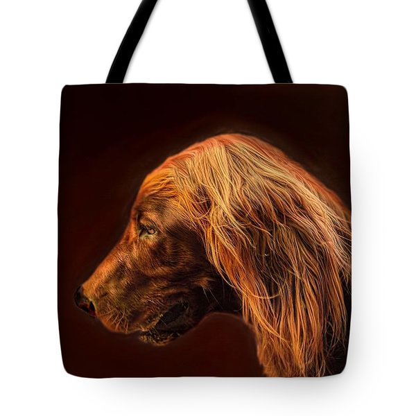 Tote Bag featuring the photograph Angus Irish Red Setter by Wallaroo Images