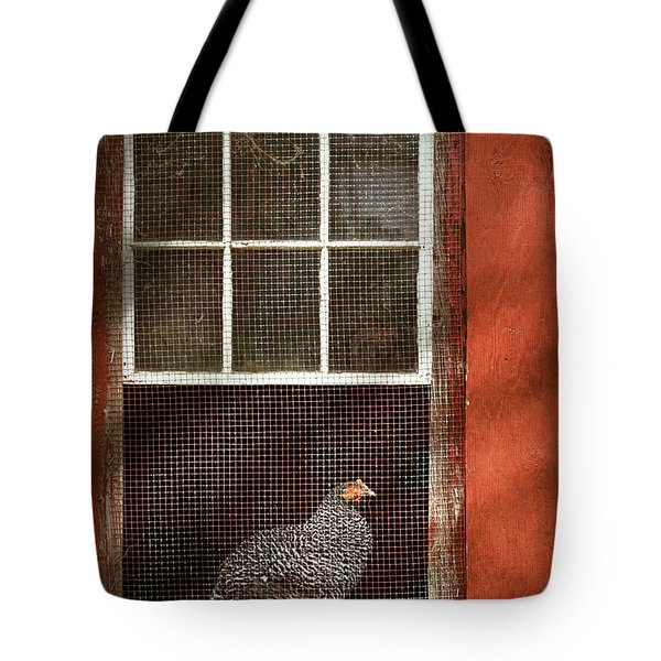 Animal - Bird - Chicken In A Window Tote Bag by Mike Savad