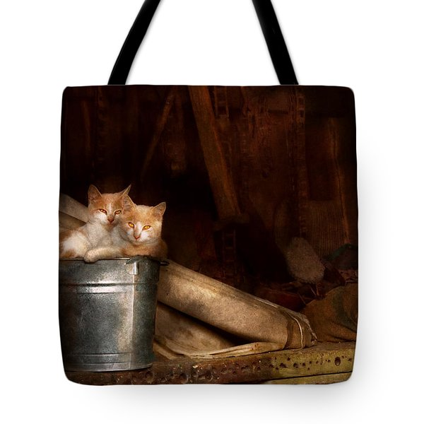 Animal - Cat - Bucket Of Fun  Tote Bag by Mike Savad