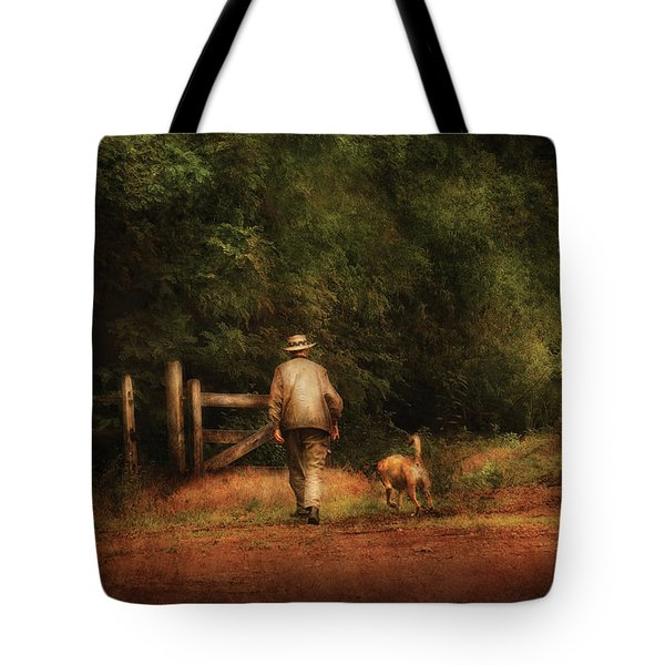 Animal - Dog - A Man And His Best Friend Tote Bag by Mike Savad
