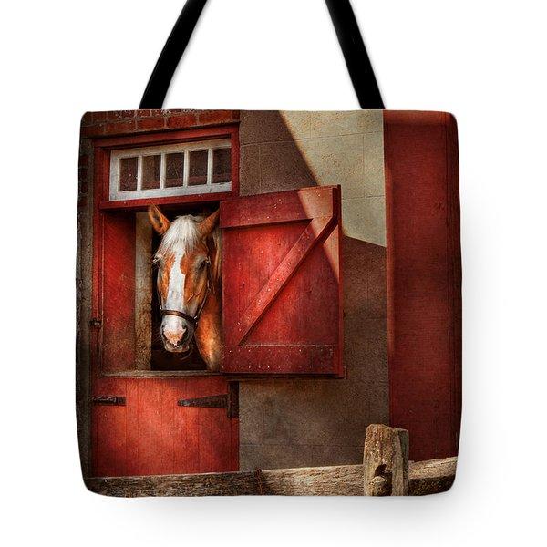 Animal - Horse - Calvins House  Tote Bag by Mike Savad