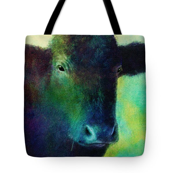 animals - cows- Black Cow Tote Bag by Ann Powell