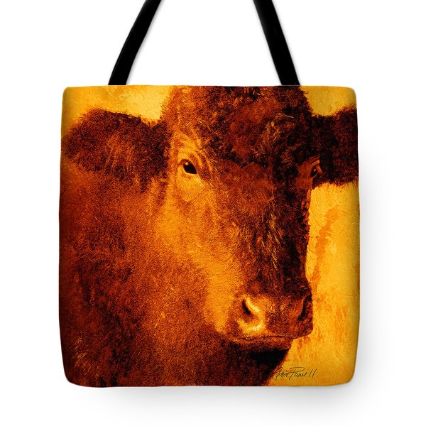 animals- cows- Brown Cow Tote Bag by Ann Powell