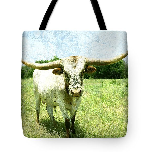 animals - cows -Longhorn in Summer Pasture Tote Bag