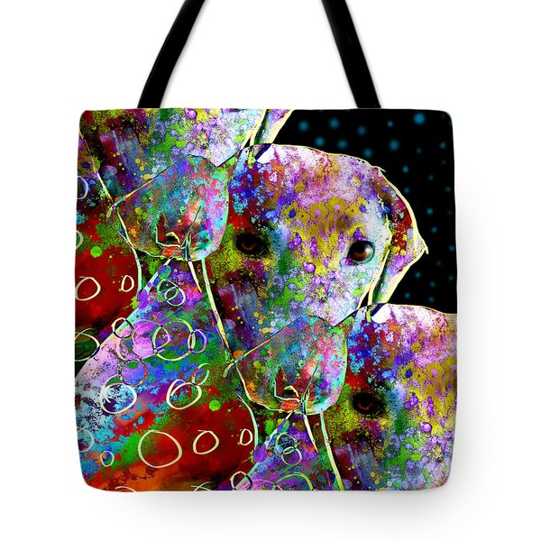 animals - dogs- Colorful Dog Collage Tote Bag by Ann Powell