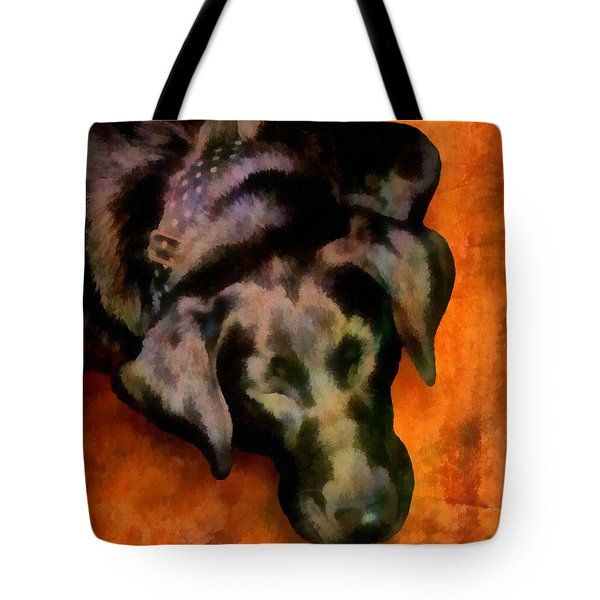 animals- dogs Sleeping Dog Tote Bag by Ann Powell