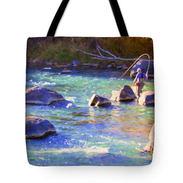 Animas River Fly Fishing Tote Bag by Janice Rae Pariza