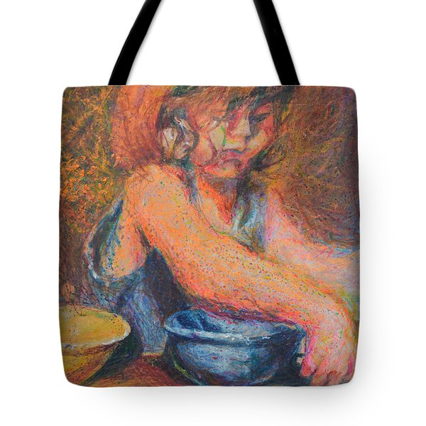 Anna And Mixing Bowls Tote Bag by Nancy Mauerman