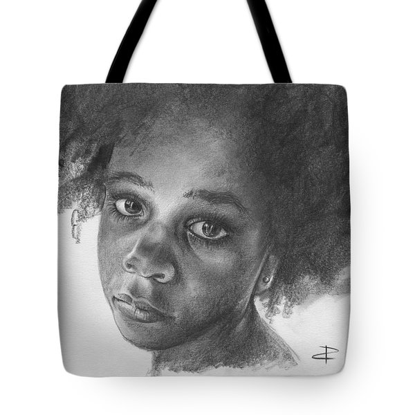 Tote Bag featuring the drawing Anna by Paul Davenport
