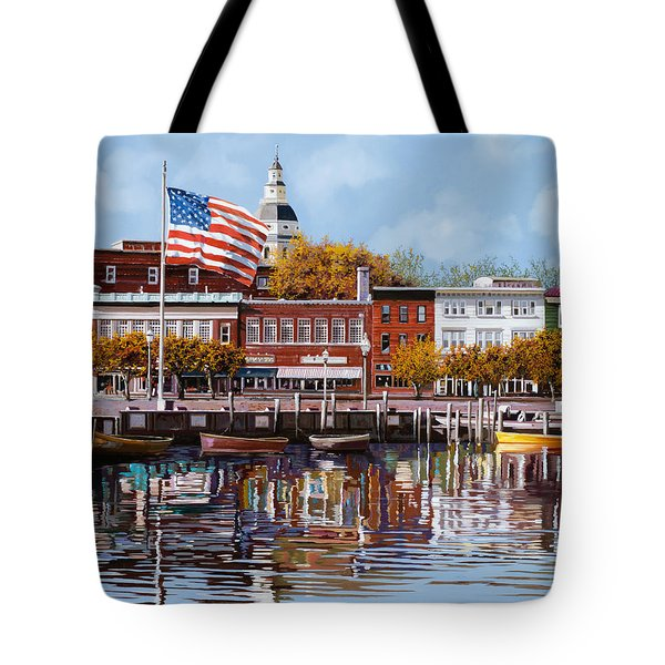 Tote Bag featuring the painting Annapolis by Guido Borelli