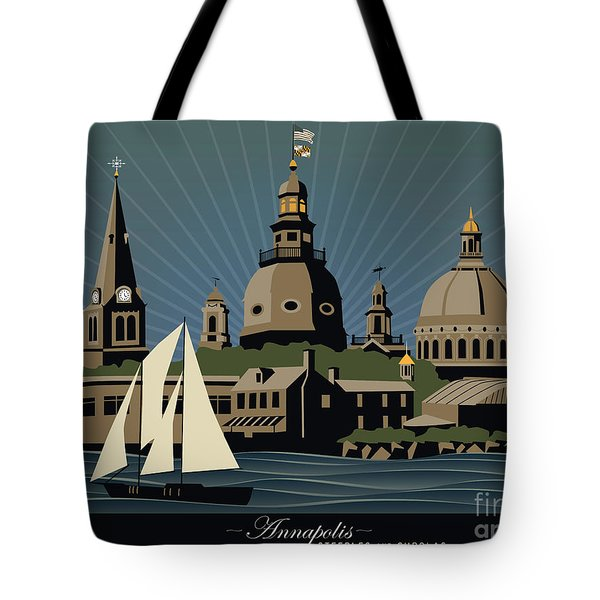 Annapolis Steeples And Cupolas Serenity With Border Tote Bag