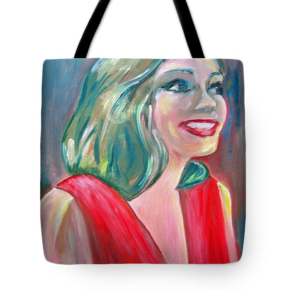 Anne Hathaway In Interview Tote Bag by Patricia Taylor