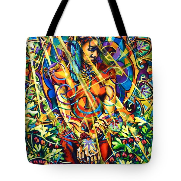 Tote Bag featuring the painting Annelise's Garden by Greg Skrtic