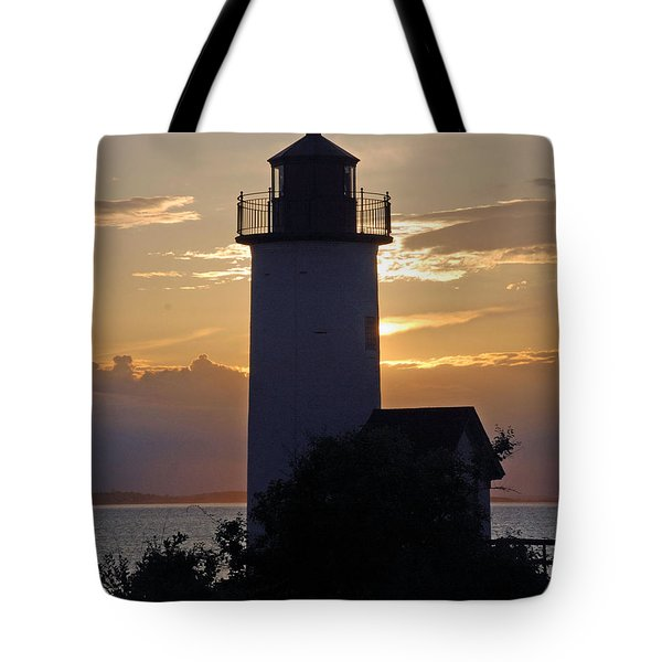 Annisquam Lighthouse Sunset Tote Bag by Richard Bryce and Family