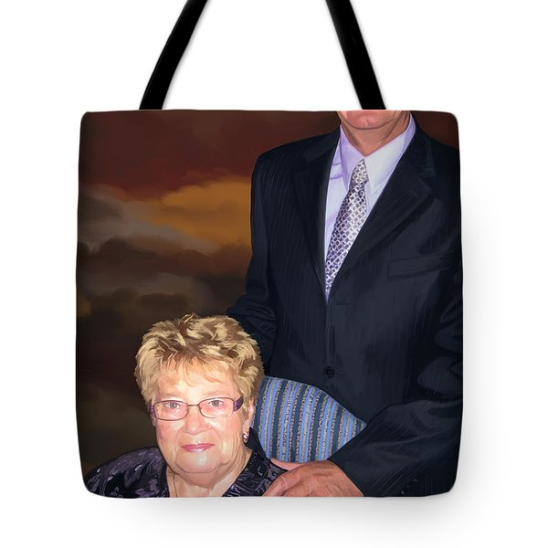 Tote Bag featuring the painting Anniversary Portrait by Tim Gilliland