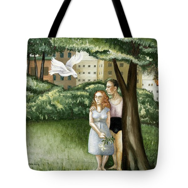 Annunciation With Burning Building Tote Bag by Caroline Jennings