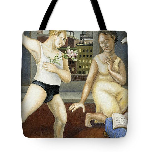 Annunciation With Yellow Dress Tote Bag by Caroline Jennings
