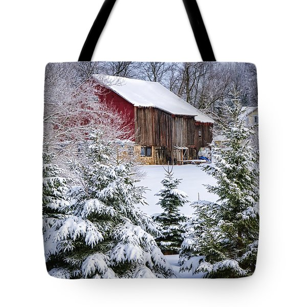 Another Wintry Barn Tote Bag