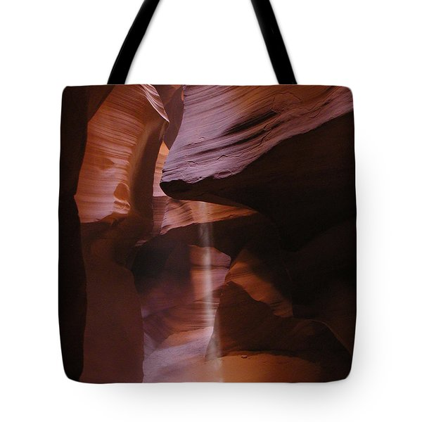 Tote Bag featuring the photograph Antelope Canyon With Light Beam by Alan Socolik