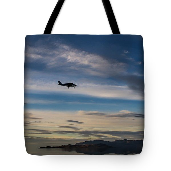 Tote Bag featuring the photograph Antelope Island - Lone Airplane by Ely Arsha