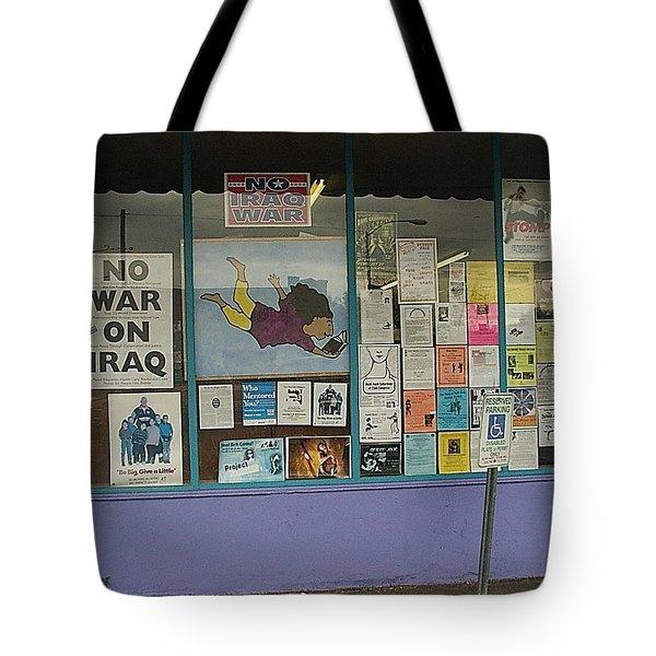 Anti-iraq War Posters 4th Avenue Book Store Window Tucson Arizona 2000 Tote Bag by David Lee Guss