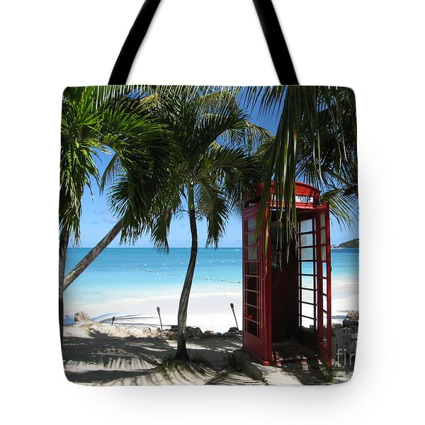Tote Bag featuring the photograph Antigua - Phone Booth by HEVi FineArt