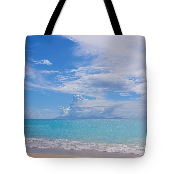 Antigua View Of Montserrat Volcano Tote Bag