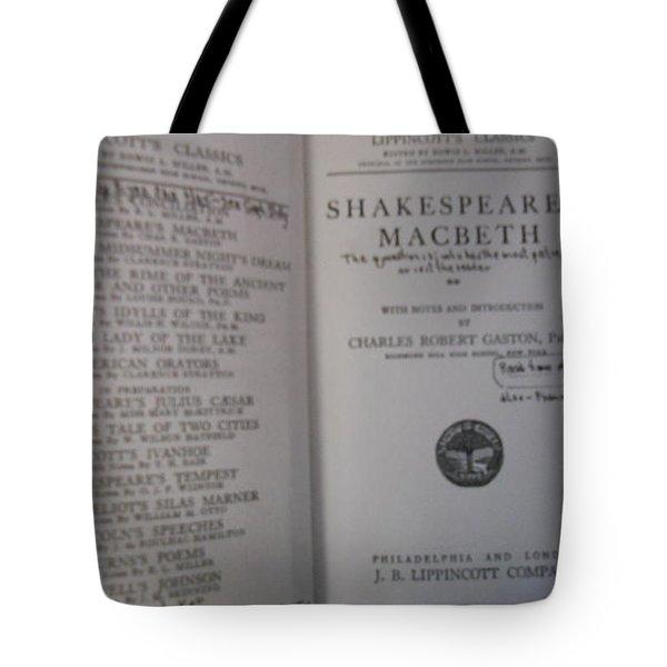 Antiqiue Shakespeare Macbeth Tote Bag by Dotti Hannum
