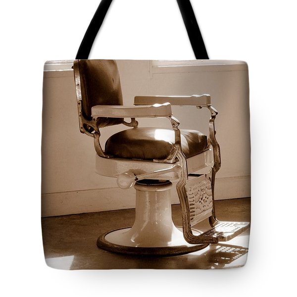 Antiquated Barber Chair In Sepia Tote Bag