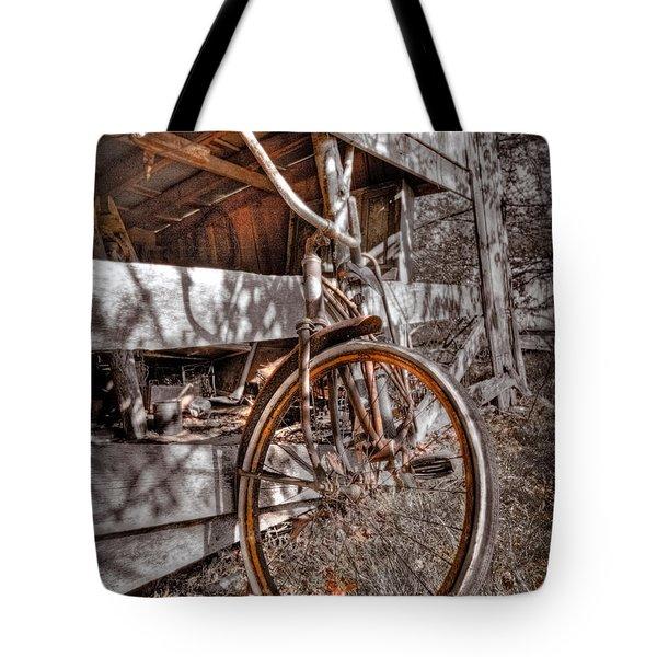 Antique Bicycle Tote Bag by Debra and Dave Vanderlaan