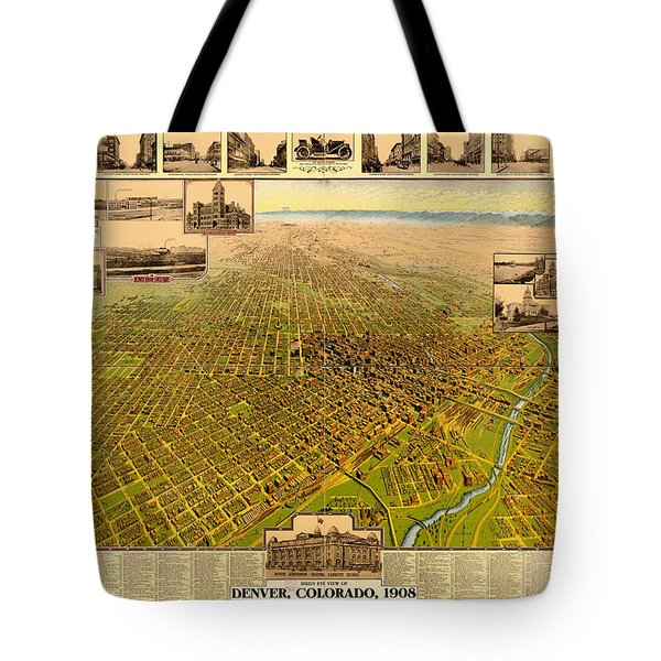 Antique Bird's-eye View Map Of Denver 1908 Tote Bag