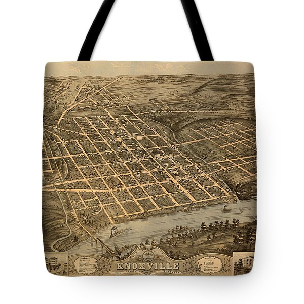 Antique Bird's-eye View Map Of Knoxville Tennessee 1871 Tote Bag
