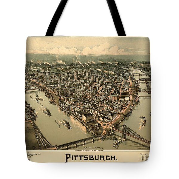 Antique Bird's-eye View Map Of Pittsburgh 1902 Tote Bag