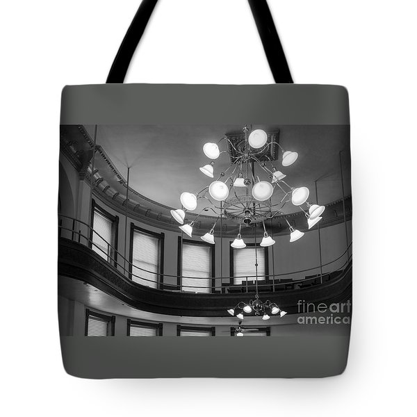 Antique Chandelier In Old Courtroom Tote Bag