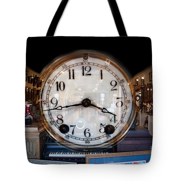 Tote Bag featuring the photograph Antique Clock Store by Gunter Nezhoda