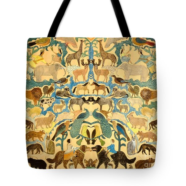 Antique Cutout Of Animals  Tote Bag by American School