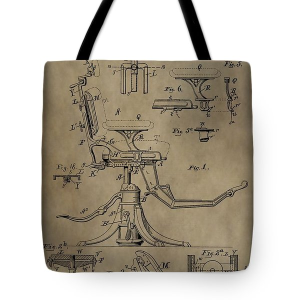 Antique Dental Chair Patent Tote Bag by Dan Sproul