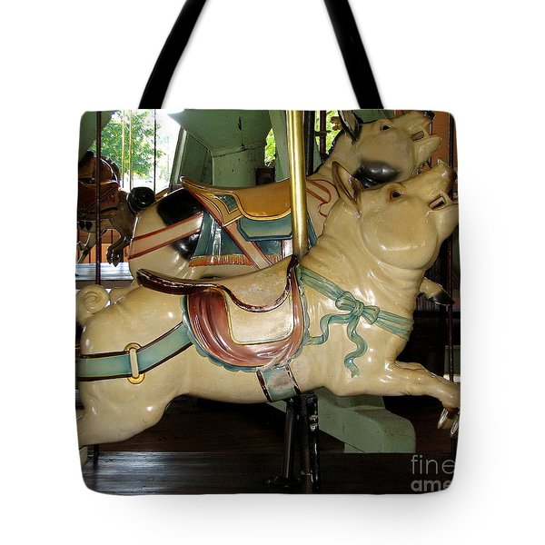 Antique Dentzel Menagerie Carousel Pigs Tote Bag