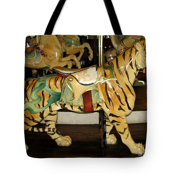 Antique Dentzel Menagerie Carousel Tiger Tote Bag